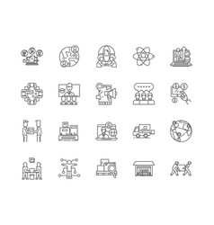 distribution center line icons signs set vector image