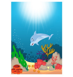 dolphin in beautiful underwater world cartoon vector image