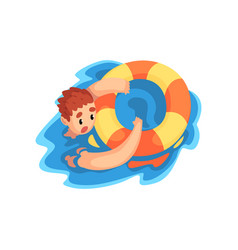 Drowning man with lifebuoy on vector