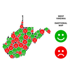 Emotional west virginia state map collage vector