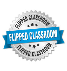 flipped classroom round isolated silver badge vector image
