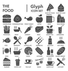 Food glyph signed icon set dish symbols vector