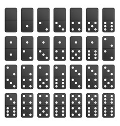 Full set black domino pieces vector