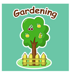 Garden tree with fruits vector