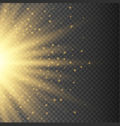 gold glowing half light burst explosion on vector image