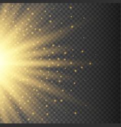 gold glowing half light burst explosion vector image