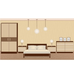 Graceful bedroom interior in warm colors vector image