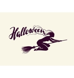 Halloween Beautiful witch flying on broomstick vector