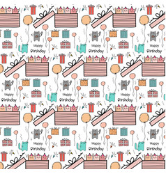 happy birthday pattern with cute cat vector image