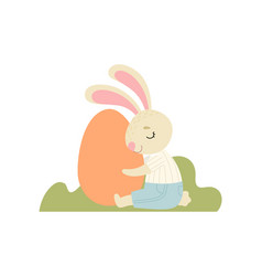 happy cute bunny hugging big egg happy easter vector image