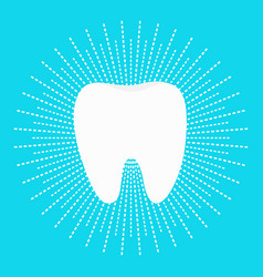 healthy white tooth icon dash line round circle vector image