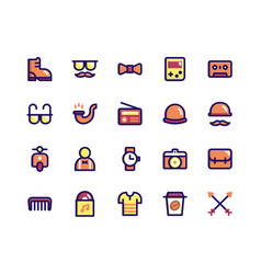 Hipster filled line icons vector