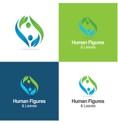 human figures and leaves logo vector image