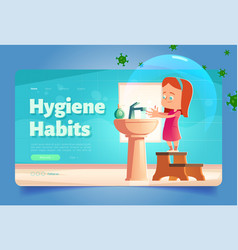 hygiene habits banner with girl washing hands vector image