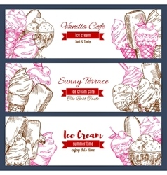 Ice cream banners sketch set vector image