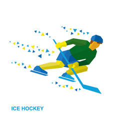ice hockey player with stick rides on skates vector image