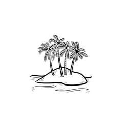 island with palm trees hand drawn outline doodle vector image