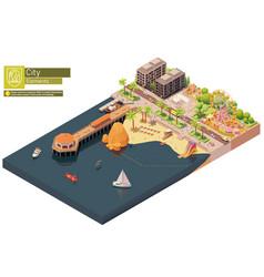 Isometric beach pier and amusement park vector