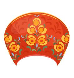 kokoshnik in red color russian headdress part of vector image