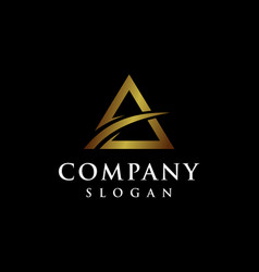 Letter a logo design with triangle shape vector