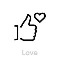 love thumb up down icon editable line vector image