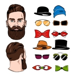 Male Head Accessories Set vector