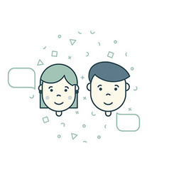 Man woman speech bubble icons vector