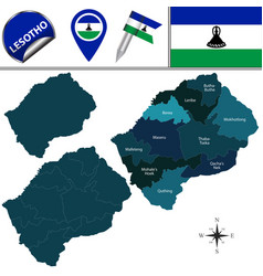 map of lesotho with named districts vector image