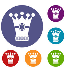 Medieval crown icons set vector