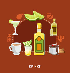 mexican drinks composition vector image