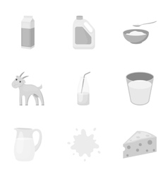 Milk set icons in monochrome style Big collection vector image