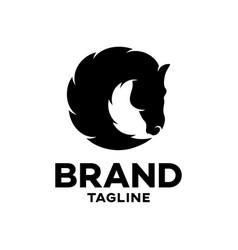 modern black silhouette a horses head logo vector image