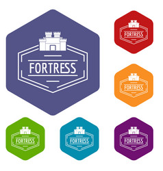 Old fortress icons hexahedron vector