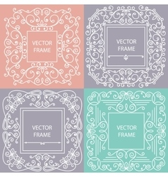 Ornamental frame monogram linear style vector image
