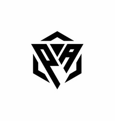 Pa logo monogram with triangle and hexagon modern vector