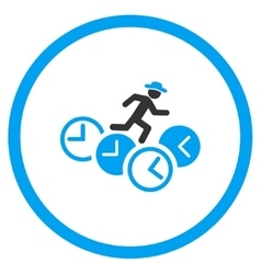 Person Running Over Clocks Rounded Icon vector