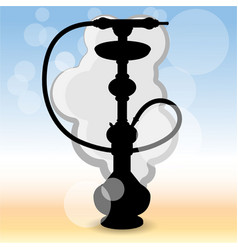 realistic silhouette hookah ilustration on blured vector image
