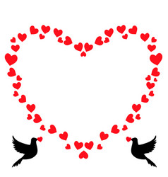 red heart shaped vintage border with loving doves vector image