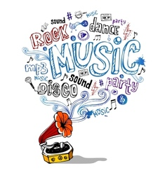 Retro gramophone and musical symbols vector image