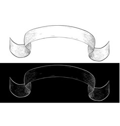 Ribbon banner hand drawn sketch vector