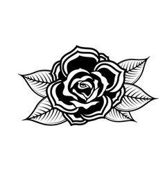 Rose in tattoo style design element for oster vector