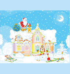 santa with gifts on a rooftop vector image