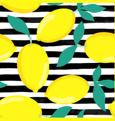Seamless background lemons with leaves on black vector