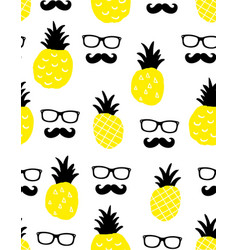 seamless background with yellow pineapples and vector image