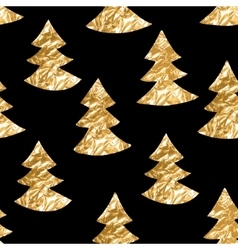 Seamless pattern with gold leaf textured spruces vector