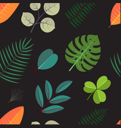 Seamless pattern with green palm leaves floral vector