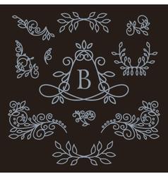 set of floral line design elements vector image