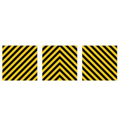 set warning striped rectangular background vector image vector image