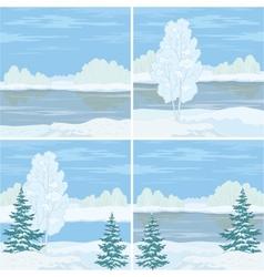 Set winter landscapes vector image