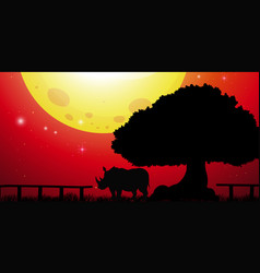 silhouette rhino in the park vector image